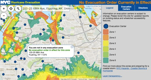 I found out that I don't live in a flood evacuation zone.