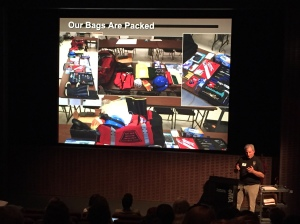 Bob Sonderman showing pictures of MERT go bags.